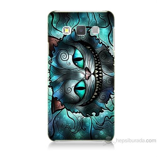 Teknomeg Samsung Galaxy A7 Alice Kedi Baskılı Silikon Kılıf