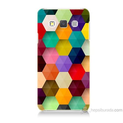 Teknomeg Samsung Galaxy A7 Renkli Petek Baskılı Silikon Kılıf