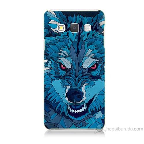 Teknomeg Samsung Galaxy A7 Mavi Kurt Baskılı Silikon Kılıf