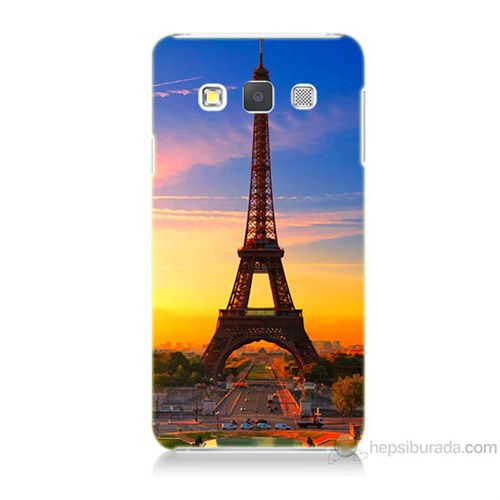 Teknomeg Samsung Galaxy A7 Eyfelde Gün Batımı Baskılı Silikon Kılıf