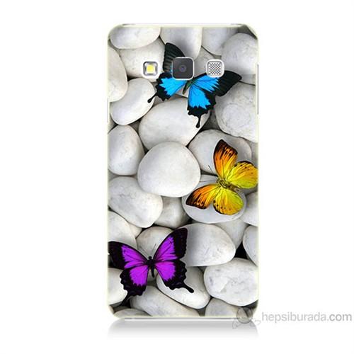 Teknomeg Samsung Galaxy A7 Kelebekler Baskılı Silikon Kılıf