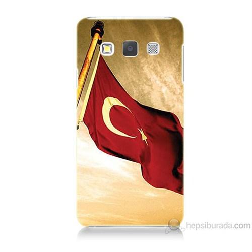 Teknomeg Samsung Galaxy A7 Türk Bayrağı Baskılı Silikon Kılıf