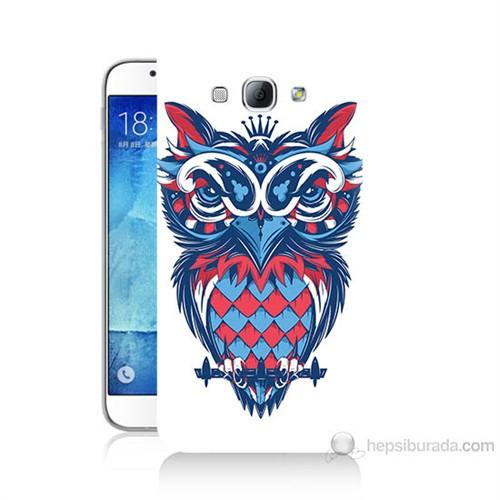 Teknomeg Samsung Galaxy A8 Renli Baykuş Baskılı Silikon Kılıf