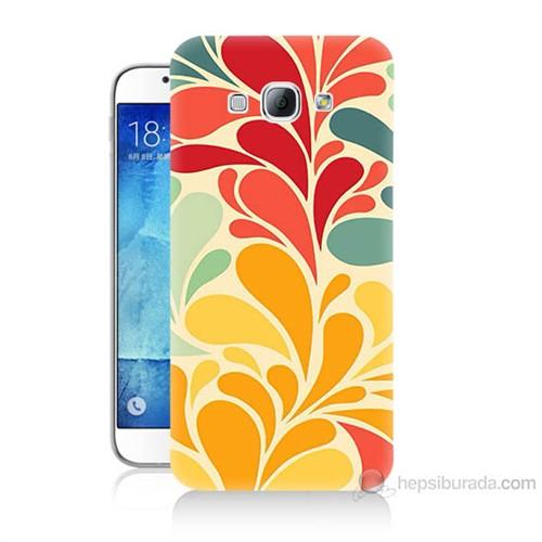 Teknomeg Samsung Galaxy A8 Çiçekler Baskılı Silikon Kılıf