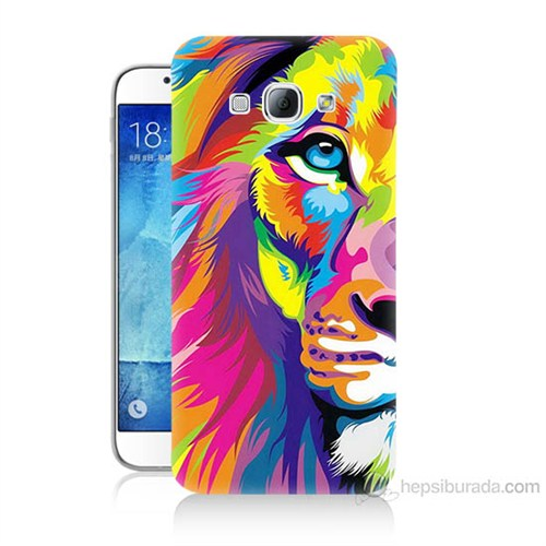 Teknomeg Samsung Galaxy A8 Renkli Aslan Baskılı Silikon Kılıf