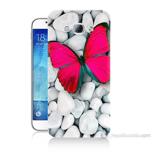 Teknomeg Samsung Galaxy A8 Kelebek Baskılı Silikon Kılıf