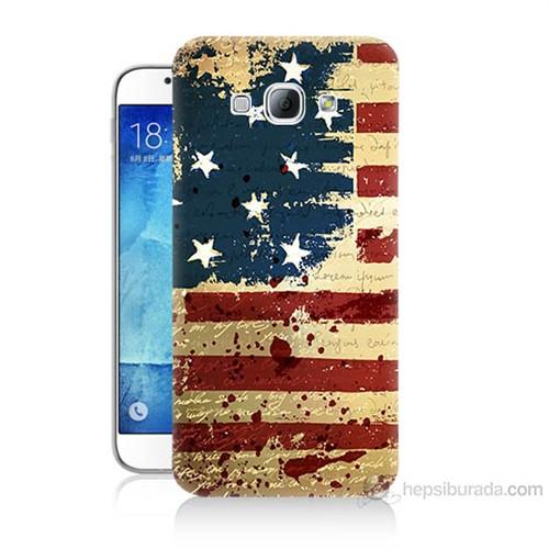Teknomeg Samsung Galaxy A8 Amerika Bayrağı Baskılı Silikon Kılıf