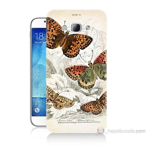 Teknomeg Samsung Galaxy A8 Kelebekler Baskılı Silikon Kılıf