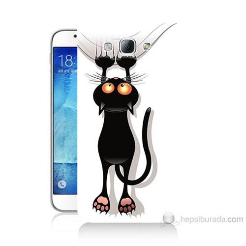 Teknomeg Samsung Galaxy A8 Kara Kedi Baskılı Silikon Kılıf