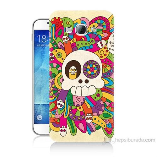 Teknomeg Samsung Galaxy A8 Örgülü Kurukafa Baskılı Silikon Kılıf