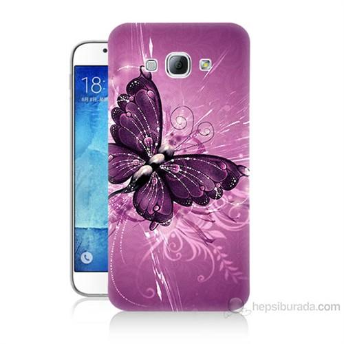 Teknomeg Samsung Galaxy A8 Mor Kelebek Baskılı Silikon Kılıf