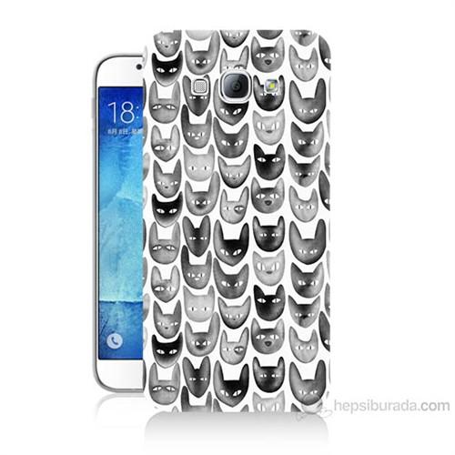 Teknomeg Samsung Galaxy A8 Kediler Baskılı Silikon Kılıf