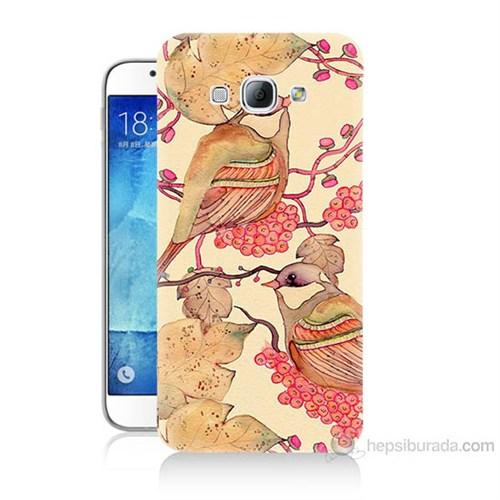Teknomeg Samsung Galaxy A8 Kuşlar Baskılı Silikon Kılıf
