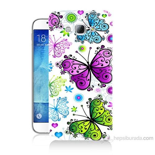 Teknomeg Samsung Galaxy A8 Renkli Kelebekler Baskılı Silikon Kılıf