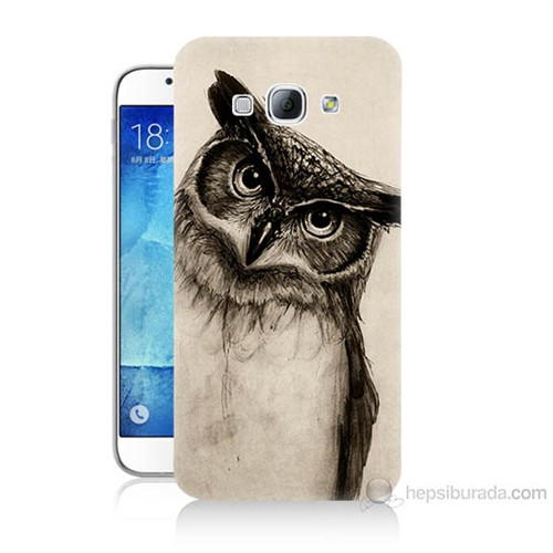 Teknomeg Samsung Galaxy A8 Düşünen Baykuş Baskılı Silikon Kılıf