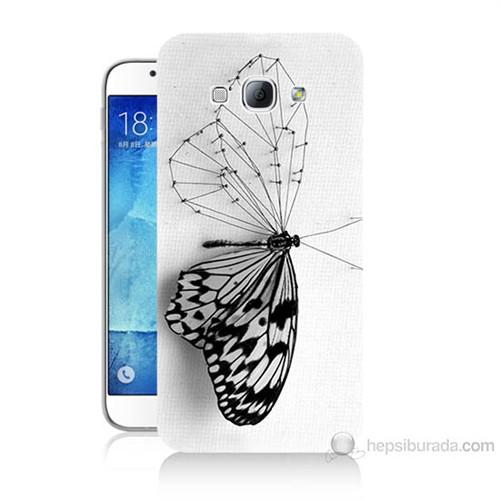 Teknomeg Samsung Galaxy A8 Kanatsız Kelebek Baskılı Silikon Kılıf