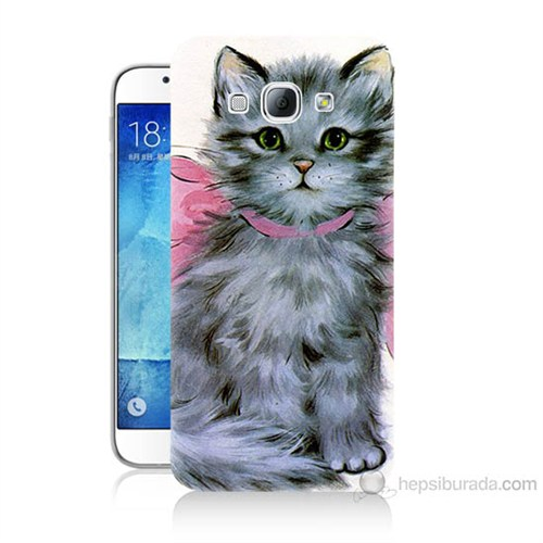 Teknomeg Samsung Galaxy A8 Papyonlu Kedi Baskılı Silikon Kılıf