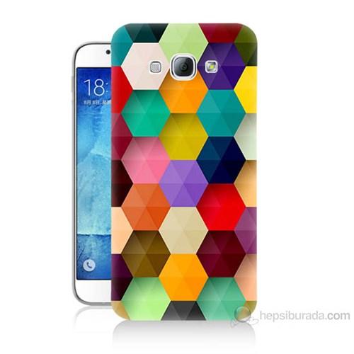 Teknomeg Samsung Galaxy A8 Renkli Petek Baskılı Silikon Kılıf