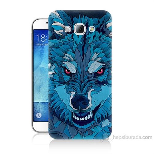 Teknomeg Samsung Galaxy A8 Mavi Kurt Baskılı Silikon Kılıf