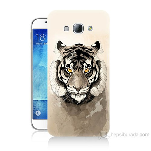 Teknomeg Samsung Galaxy A8 Beyaz Aslan Baskılı Silikon Kılıf