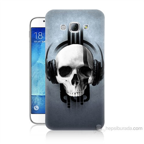 Teknomeg Samsung Galaxy A8 Müzik Dinleyen Kurukafa Baskılı Silikon Kılıf