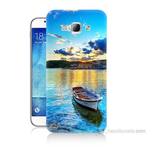 Teknomeg Samsung Galaxy A8 Gün Batımında Deniz Baskılı Silikon Kılıf