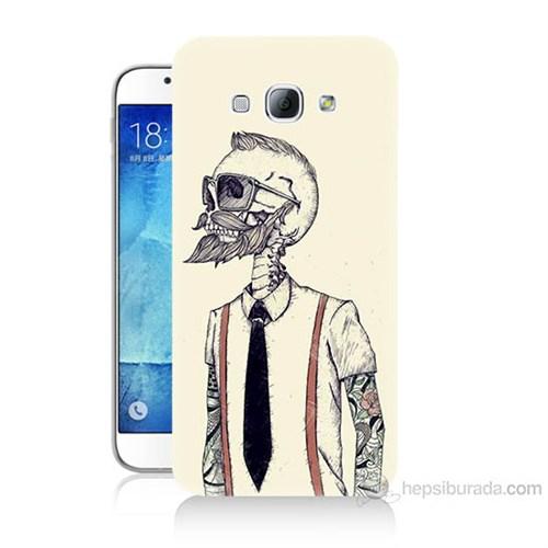 Teknomeg Samsung Galaxy A8 Dövmeli İskelet Baskılı Silikon Kılıf
