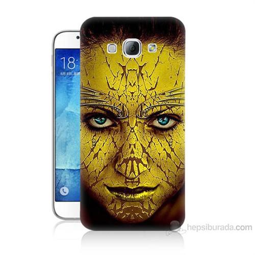 Teknomeg Samsung Galaxy A8 Sarı Kız Baskılı Silikon Kılıf