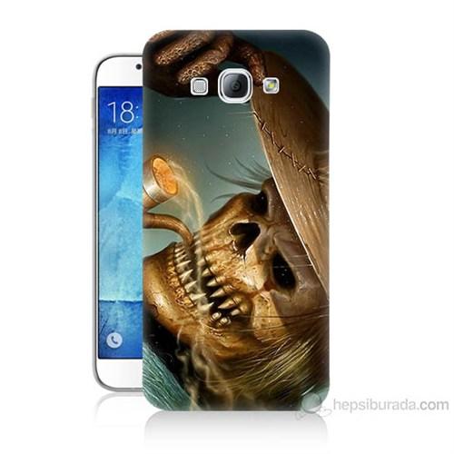 Teknomeg Samsung Galaxy A8 Pipolu Kurukafa Baskılı Silikon Kılıf