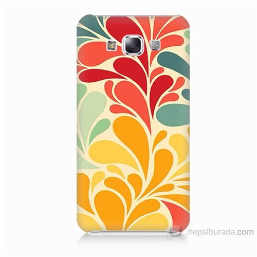 Teknomeg Samsung Galaxy E5 Çiçekler Baskılı Silikon Kılıf