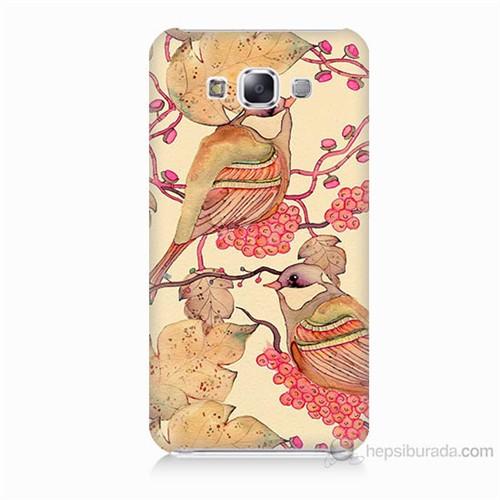 Teknomeg Samsung Galaxy E5 Kuşlar Baskılı Silikon Kılıf