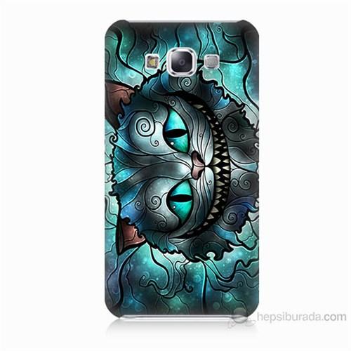Teknomeg Samsung Galaxy E5 Alice Kedi Baskılı Silikon Kılıf