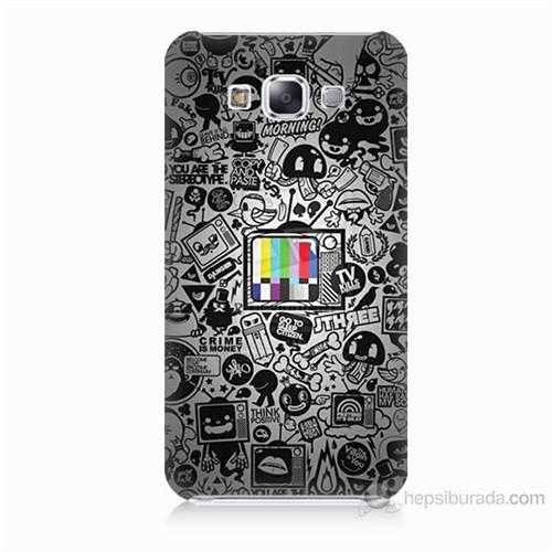 Teknomeg Samsung Galaxy E5 Renkli Tv Baskılı Silikon Kılıf