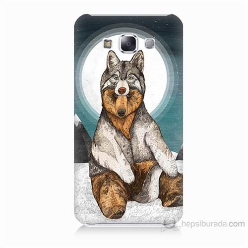 Teknomeg Samsung Galaxy E5 Postlu Ayı Baskılı Silikon Kılıf