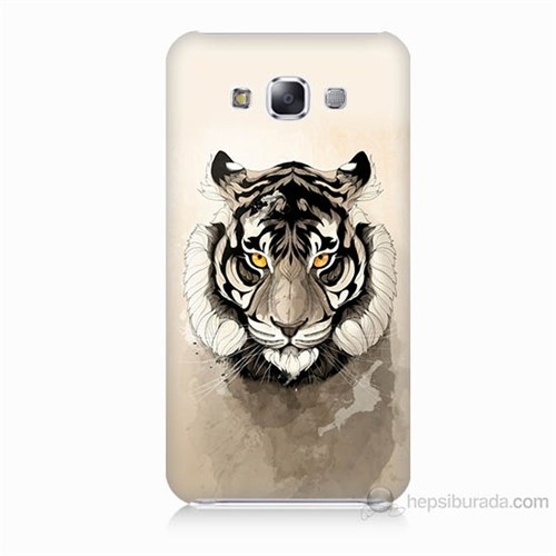 Teknomeg Samsung Galaxy E5 Beyaz Aslan Baskılı Silikon Kılıf