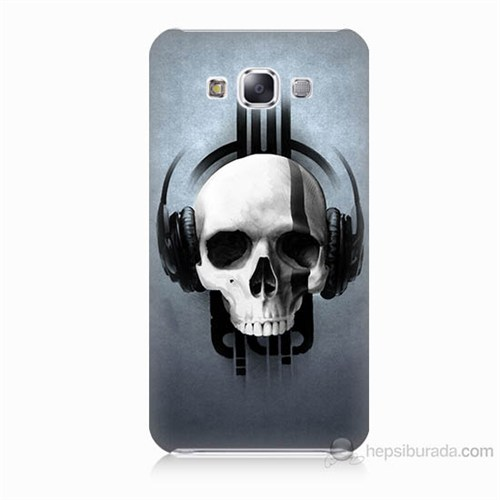 Teknomeg Samsung Galaxy E5 Müzik Dinleyen Kurukafa Baskılı Silikon Kılıf