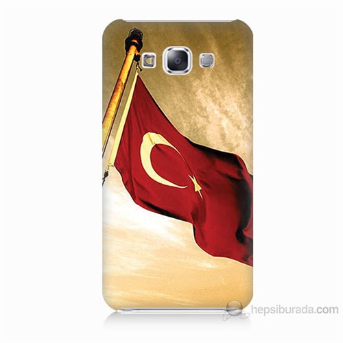 Teknomeg Samsung Galaxy E5 Türk Bayrağı Baskılı Silikon Kılıf