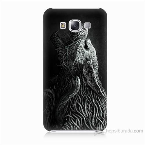 Teknomeg Samsung Galaxy E5 Savaşçı Kurt Baskılı Silikon Kılıf