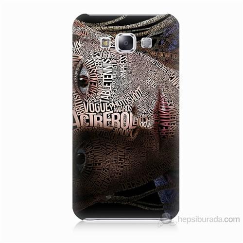 Teknomeg Samsung Galaxy E5 Yazılı Kadın Baskılı Silikon Kılıf