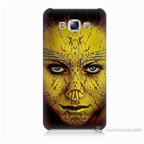 Teknomeg Samsung Galaxy E5 Sarı Kız Baskılı Silikon Kılıf
