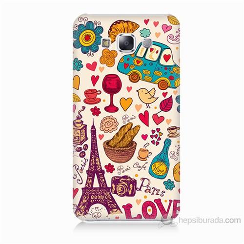 Teknomeg Samsung Galaxy E7 Paris Love Baskılı Silikon Kılıf