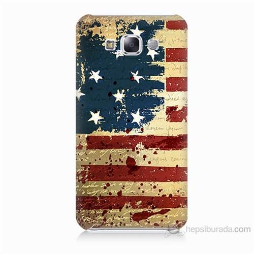 Teknomeg Samsung Galaxy E7 Amerika Bayrağı Baskılı Silikon Kılıf