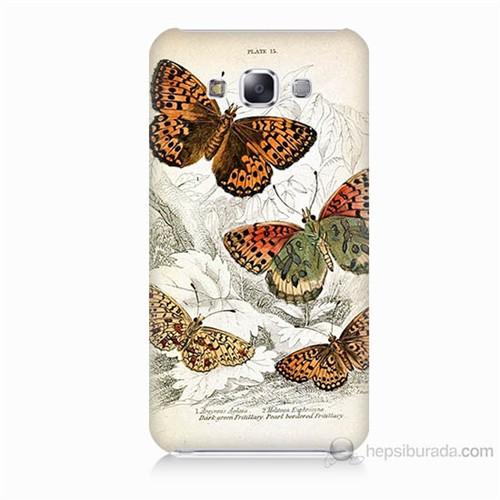Teknomeg Samsung Galaxy E7 Kelebekler Baskılı Silikon Kılıf