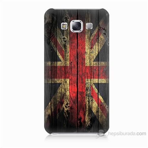 Teknomeg Samsung Galaxy E7 İngiliz Bayrağı Baskılı Silikon Kılıf