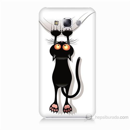 Teknomeg Samsung Galaxy E7 Kara Kedi Baskılı Silikon Kılıf