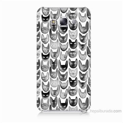 Teknomeg Samsung Galaxy E7 Kediler Baskılı Silikon Kılıf