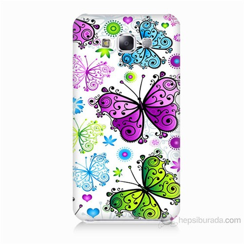 Teknomeg Samsung Galaxy E7 Renkli Kelebekler Baskılı Silikon Kılıf