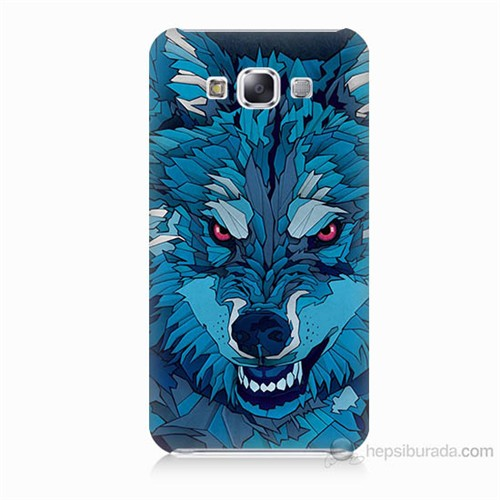Teknomeg Samsung Galaxy E7 Mavi Kurt Baskılı Silikon Kılıf