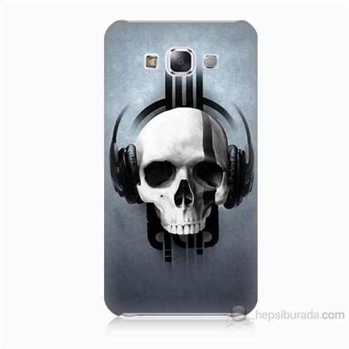 Teknomeg Samsung Galaxy E7 Müzik Dinleyen Kurukafa Baskılı Silikon Kılıf