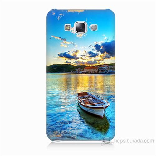 Teknomeg Samsung Galaxy E7 Gün Batımında Deniz Baskılı Silikon Kılıf